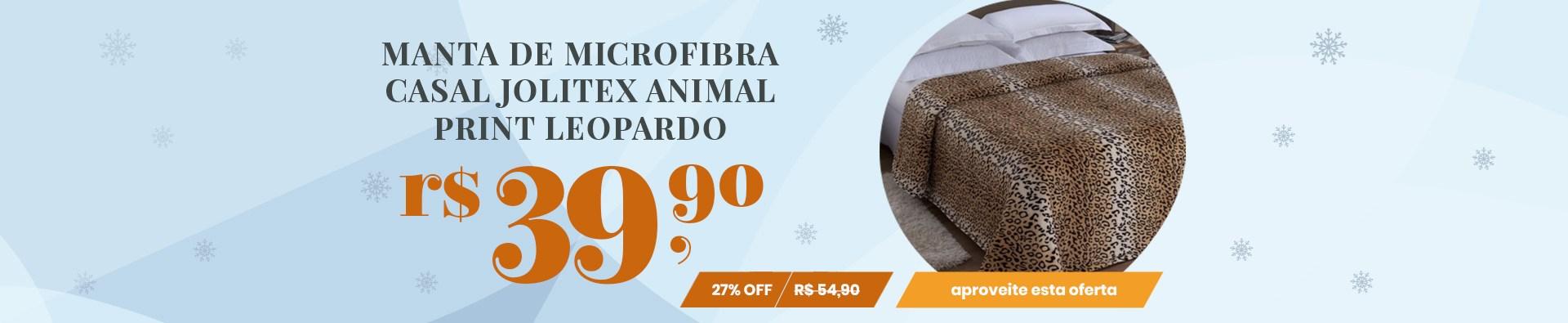 Manta de Microfibra Casal Jolitex Animal Print Leopardo