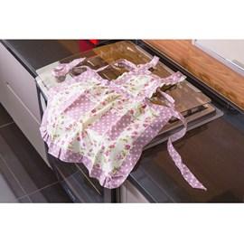 Avental de Cozinha Jolitex Floral/Listras Rosa