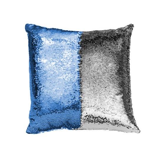 Capa de Almofada Paetê Rozac Azul/Prata
