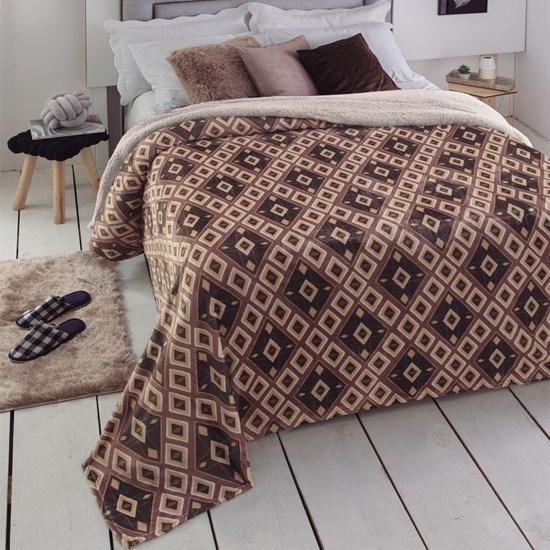 Cobertor Casal Dupla Face com Sherpa Soft Austin Jolitex Ternille