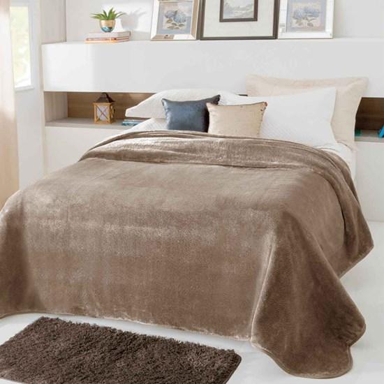 Cobertor Casal Kyor Plus Liso Bege Jolitex Ternille