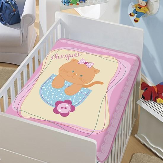 Cobertor de Berço Jolitex Gatinha Chegou Rosa