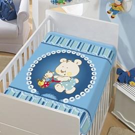 Cobertor de Berço Jolitex Mamãe e Filho Azul