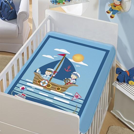 Cobertor de Berço Jolitex Os Marinheiros Azul