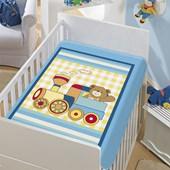 Cobertor de Berço Jolitex Trenzinho Piuí Azul