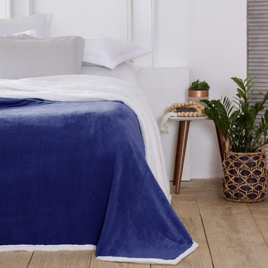 Cobertor Queen com Sherpa Corttex Austria Azul Marinho