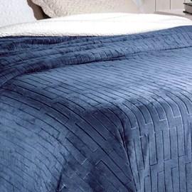 Cobertor Soft Flannel /Sherpa Queen Vermont Rozac Azul