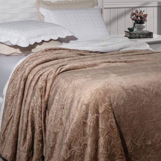 Cobertor Soft Flannel /Sherpa Queen Vermont Rozac Bege