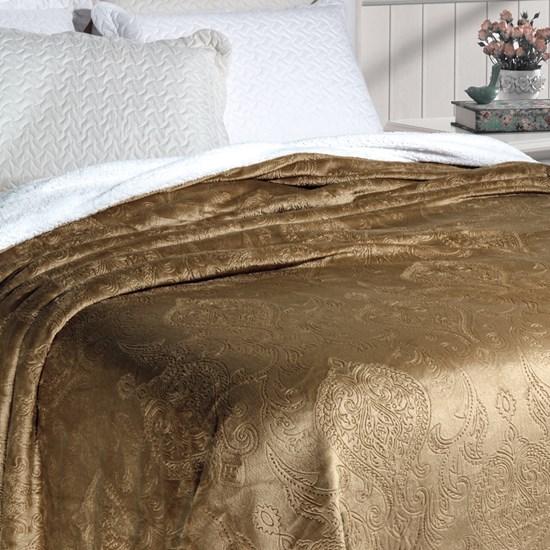 Cobertor Soft Flannel /Sherpa Queen Vermont Rozac Fendi