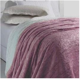Cobertor Soft Flannel /Sherpa Queen Vermont Rozac Rose