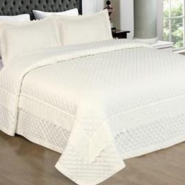 Cobreleito Casal Percal 300 Fios Provence Com Renda Bordada Marfim