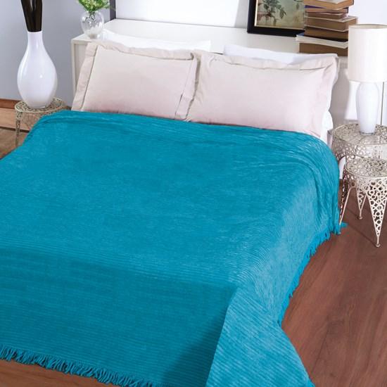 Colcha Casal Chenille Canelada Jolitex Azul Turquesa