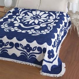 Colcha Casal Chenille Canelada Jolitex Flórida Azul/Branco