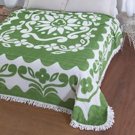 Colcha Casal Chenille Canelada Jolitex Flórida Verde/Branco
