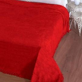 Colcha Casal Chenille Canelada Jolitex Vermelho