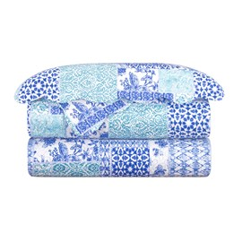 Colcha Queen Camesa Balan Azul Evolution Patchwork