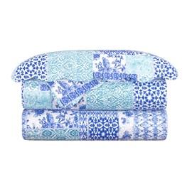 Colcha Queen Camesa Balan Azul Evolution Patchwork