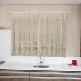 Cortina de Cozinha Interlar 2,00m x 1,20m Lisa Marrom Rosas
