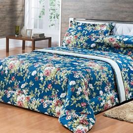 Edredom Queen 180 fios 100% algodão Ônix Floral Azul