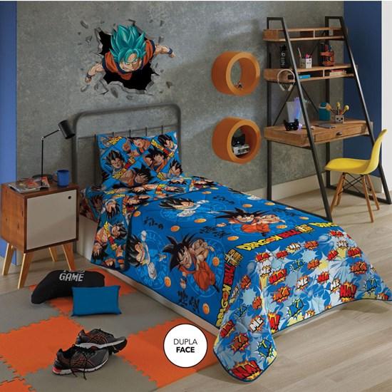 Edredom Solteiro Infantil Dupla-Face Microfibra Dragon Ball Lepper