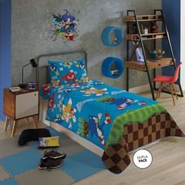 Edredom Solteiro Infantil Dupla-Face Microfibra Sonic Lepper