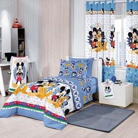 Edredom Solteiro Santista Mickey Happy Disney Dupla Face