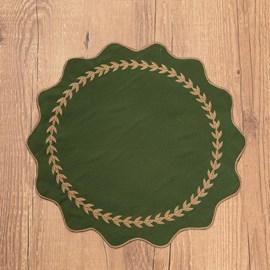 Jogo Americano Argivai Nero Verde Musgo 40cm Redondo 4 Peças