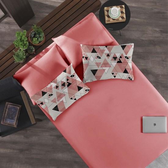 Jogo Cama Solteiro Portallar Cubismo Rosa/Rosa Flamingo- 2 peças