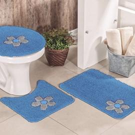 Jogo de Banheiro Cotton Aplique Azul e Cinza Miriam 3 Peças