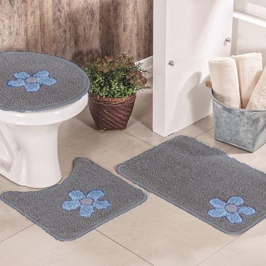 Jogo de Banheiro Cotton Aplique Cinza e Azul Miriam 3 Peças