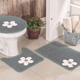 Jogo de Banheiro Cotton Aplique Cinza e Branco Miriam 3 Peças