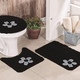 Jogo de Banheiro Cotton Aplique Preto e Cinza Miriam 3 Peças