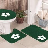 Jogo de Banheiro Cotton Aplique Verde e Branco Miriam 3 Peças