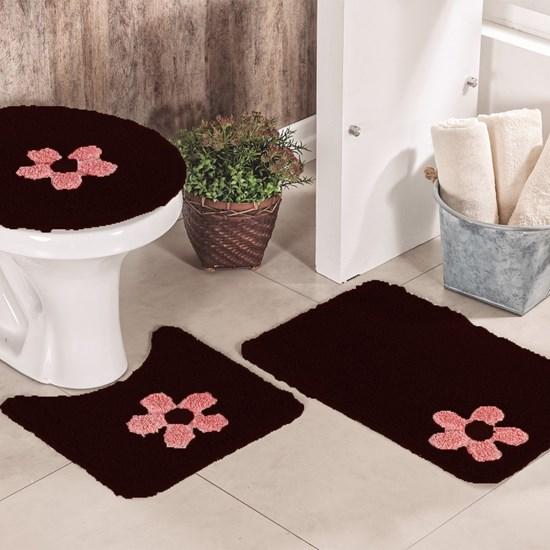 Jogo de Banheiro Cotton Aplique Vinho e Rosa Miriam 3 Peças