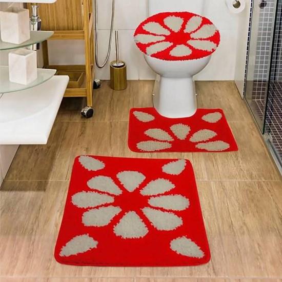 Jogo de Banheiro Jolitex Urban Hibisco Vermelho 3 Peças