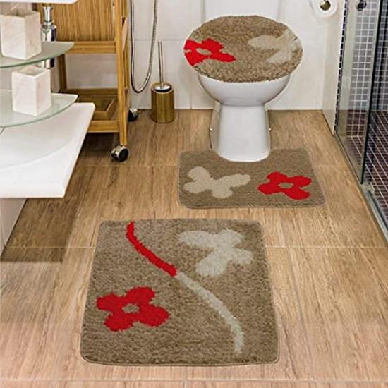 Jogo de Banheiro Jolitex Urban Natural Marrom 3 Peças