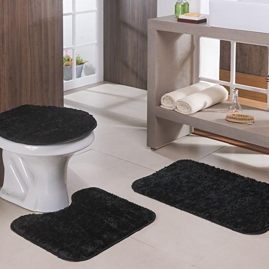 Jogo de Banheiro Oásis Classic Preto 3 peças