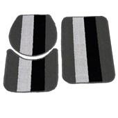 Jogo de Banheiro Rubi Cinza/Branco/Preto 3 Peças