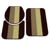 Jogo de Banheiro Rubi Marrom/Bege/Amarelo 3 Peças