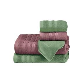 Jogo de Banho Teka Hanna Vinho e Verde 5 Peças