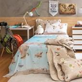 Jogo de Cama Infantil Solteiro Maps Santista 100% algodão