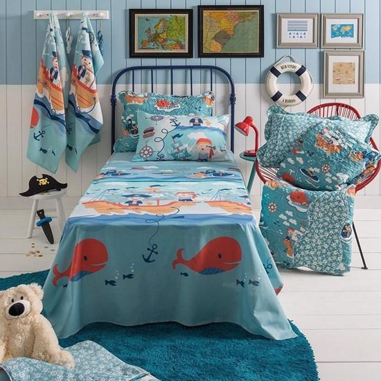 Jogo de cama Infantil Solteiro Pirata Santista 100% algodão