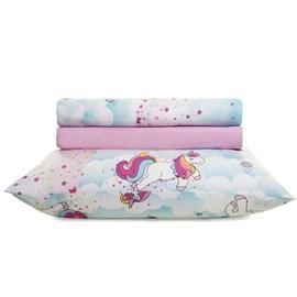 Jogo de cama Infantil Solteiro Unicórnio Santista 100% algodão
