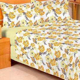 Jogo de Cama Solteiro Duplo Encanto Floral Amarelo 3 Peças