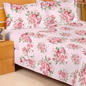 Jogo de Cama Solteiro Duplo Encanto Floral Rosa Claro 3 Peças