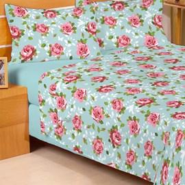 Jogo de Cama Solteiro Duplo Encanto Floral Verde 3 Peças