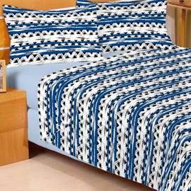 Jogo de Cama Solteiro Duplo Encanto Geométrico Azul 3 Peças