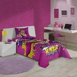 Jogo de Cama Solteiro Infantil Lepper Barbie Super Princesa 3 Peças