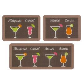 Jogo de Tapete de Cozinha Menu Jolitex Cocktail 3 Peças