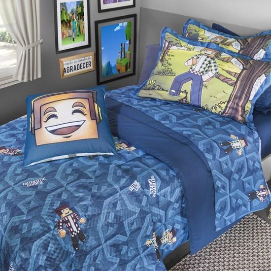 Kit Cobreleito Solteiro Kacyumara Authentic Games Blue